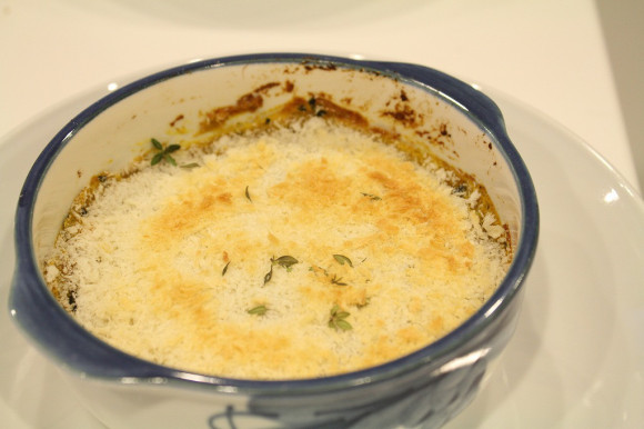 ②カボチャと長ネギのカレーチーズ焼き